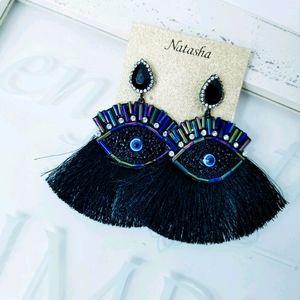 Natasha Eye Earrings Bead and Tassel detail
